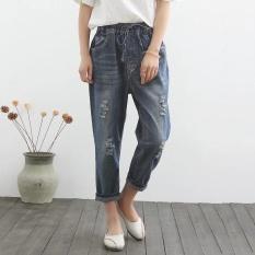 Longgar Musim Panas Perempuan Bagian Tipis Ikat Elastis Celana 3/4 Celana Jeans Sobek (Lubang Pantyhose)