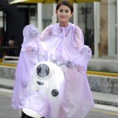 Jas Hujan Transparan Mobil Listrik Jas Hujan Plastik Ukuran Plus (Bersepeda Model Transparan-Ungu Polka Titik)