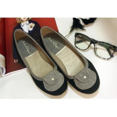 Ully Vega La Flat Shoes Black Grey Diskon Jawa Barat