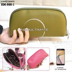 Ultimate Dompet Wanita HM-666-1 - Green / Dompet Cewek / Cewe Kartu ATM HP Panjang Kulit Import Murah Lucu