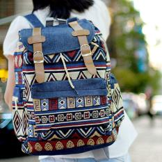 Ultimate Tas Backpack Unisex Pria Wanita / Punggung / Ransel Sekolah Kuliah Fancy Etnic / Korea Bag Import Branded Murah Terbaru JS-017 - Denim Blue
