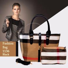 Jual Ultimate Tas Wanita 2In1 Top Handle Bag Tas Branded Wanita High Quality Korean Tas Fashion Korean Elegant Bag Style 1136 Black Murah Di Indonesia