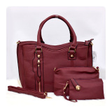 Ultimate Tas Wanita 3In1 Top Handle Bag Tas Branded Wanita High Quality Korean Tas Fashion Korean Elegant Bag Style 219 Maroon Ultimate Diskon 40
