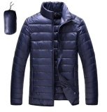 Spek Ultralight Down Jackets 2017 Laki Laki Berdiri Kerah Duck Down Jacket Light Tipis Musim Gugur Musim Dingin Solid Kasual Mantel Outwear Plus Ukuran Navy Blue Intl Oem