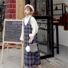 Dimana Beli Ulzzang Korea Fashion Style Siswa Model Panjang Wol Kotak Kotak Lurus Gaun Rok Gaun Hitam Dan Abu Abu Baju Wanita Dress Wanita Gaun Wanita Other