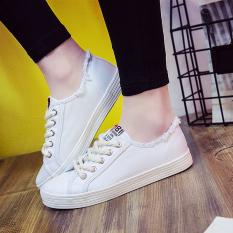 Ulzzang Korea Fashion Style Perempuan Semi Dan Kasual Sepatu Kain Sepatu Kets Putih Putih Untuk Mengirim Kaos Kaki Model Perahu Original