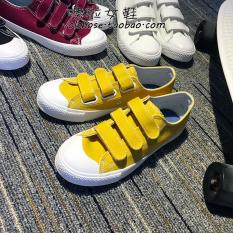 Beli Chic Korea Fashion Style Baru Velcro Sepatu Kain Sepatu Kanvas Kuning Dengan Kartu Kredit