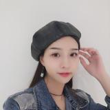 Harga Topi Baret Wanita Bordiran Huruf Versi Korea Kulit Topi Topi Labu Hitam Kulit Topi Topi Labu Hitam Oem Terbaik
