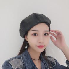 Harga Topi Baret Wanita Bordiran Huruf Versi Korea Kulit Topi Topi Labu Hitam Kulit Topi Topi Labu Hitam Original