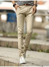 Umen Celana Panjang Kasual Pria Pinggang Sedang Bahan Katun Warna Dasar (Nasi Putih)