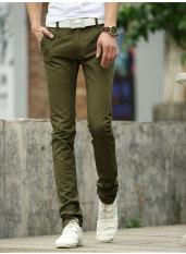 Umen Celana Panjang Kasual Pria Pinggang Sedang Bahan Katun Warna Dasar (Tentara Hijau)