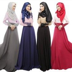 Uncle Sam Elegant Muslim Women Lace Sleeves Skirt Slim Long Dress Baju Kurungarab Loose-Fitting Ramadan Clothing Wear Black