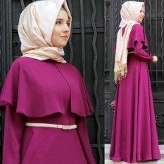 Paman Sam New Trendy Kepribadian Bergaya Cape Abaya Wanita Turki Clothingelegant Muslim Dress Islam Cocktail Ladies Long Sleeve Vintagemaxi Gaun (Ungu) -Intl