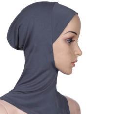 Di Bawah Syal Hat Muslim Wanita Jilbab Islam Kepala Memakai Leher Cover Dark Grey-Intl