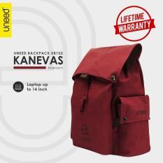 Review Uneed Kanevas Tas Backpack Pria Tas Ransel Tas Laptop 14Inch Original Maroon