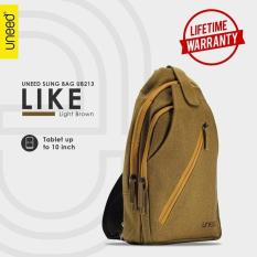 Ulasan Tentang Uneed Like Tas Selempang Pria Universal Tas Sling Bag For Tablet 7 Inch Water Resistant Ub213 Light Brown
