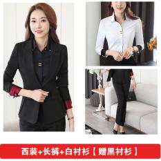 Musim Gugur Dan Musim Dingin Ungu Slim Terlihat Langsing Wanita Seragam Kerja (Jas + kemeja putih + celana [hadiah hitam kemeja])
