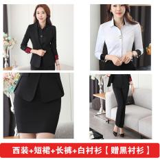 Musim Gugur Dan Musim Dingin Ungu Slim Terlihat Langsing Wanita Seragam Kerja (Jas + kemeja putih + celana + rok [hadiah hitam kemeja])