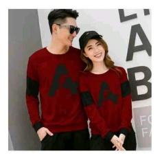Baju Wanita Shop Kaos Couple Letter A / Kaos Oblong  / Sweater Couple CP A / T-shirt Pasangan / Pakaian Kembar / Kaos Pria Wanita 2L - Maroon D3C