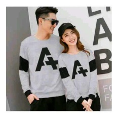 UC Kaos Couple Letter A / Kaos Oblong  / Sweater Couple CP A / T-shirt Pasangan / Pakaian Kembar / Kaos Pria Wanita 2L - Misty D3C