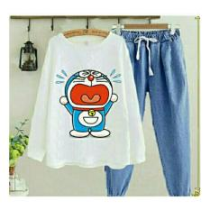 UC Baju Kodok Wanita Dewasa Setelan Dora Cry/ Baju Setelan Wanita / Baju Setel Jamsuit Celana Kodok Kartun Doraemon / Baju Stelan Modern NR - A0010