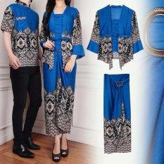 UC Couple Kebaya Kutu Baru Pria Modern Batik Pasangan Gilang 3in1  Batik Couple  Kemeja Batik  Maulana Baju Kemeja Couple Terbaru Berkualitas [Biru)