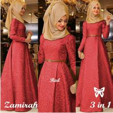 UC Dress Gamis Muslim Mirah / Hijab Muslim / Muslim Syari Hijab Syar'i / Busana Muslimah / Kebaya Modern Lebaran (Mirahza)  SS - MAROON / Gaun Pesta