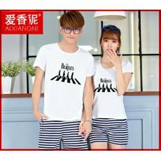 Baju Wanita Shop Kaos Couple Beatles / Kaos Oblong Fans Club / Kaos Pasangan / Tshirt Pasangan / Pakaian Kembar / Kaos Pria Wanita LC - Putih