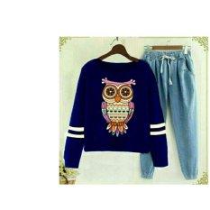 UC Overall Wanita Denim Owl / Jumpsuit / Jamsuit / Setelan Kodok / Baju Set PM - merah D2C