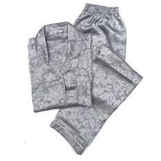 Unik Piyama Mewah Grey Abu Abu Rosy Satin Baju Tidur Pajamas Wanita PSR17 Diskon