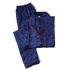 Unik Piyama Mewah Navy Blue Biru Rosy Satin Baju Tidur Pajamas Wanita PSR12 Limited