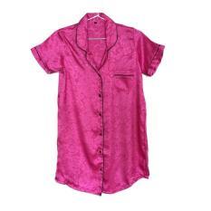 Unik Sleepshirt Daster Magenta Pink Satin Baju Tidur Piyama Cewek SSR15 Berkualitas