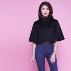 Spesifikasi Uninamu Baju Atasan Wanita Kaos Turtleneck Scuba Jingle Bell Mock Top Black Hitam Bagus