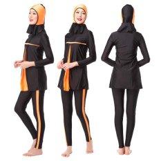 Desain Unik Perut Tersembunyi Womens Sederhana Muslim Burkini 3-Pieces Hindu Yahudi Jilbab Swimsuit Islam Lady Swimwear XS-XXXL (orange) -Intl