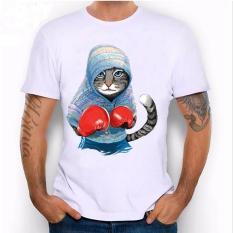 Unik Super Lucu Cat dan Sloth The Cahmpion Boxer T-shirt Lengan Pendek Pria Desain Harajuku Tops Summer Hipster Cool Tees (Putih) -Intl