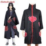 Promo Unisex Cosplay Kostum Jepang Anime Naruto Itachi Akatsuki Cosplay Jubah Jubah Cape Hood Mantel Pesta Costumes Pakaian Oem Terbaru