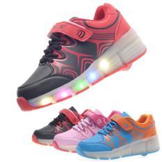 Unisex LED Light Heelys Single Roda Roller Skate Sneakers Sepatu (Hitam)-Intl