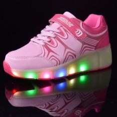 Unisex LED Light Heelys Single Roda Roller Skate Sepatu Sneakers Pink-Intl