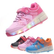 Unisex LED Light Heelys Single Roda Roller Skate Sneakers Sepatu (Merah Muda)-Intl