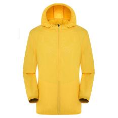 Beli Unisex Ringan Outdoor Waterproof Hooded Uv Perlindungan Kulit Jacketi¼ˆyellowi¼‰