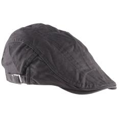 Promo Unisex Pria Wanita Beret Buckle Flat Cap Cabbie Mengemudi Newsboy Gatsby Golf Hat Grey