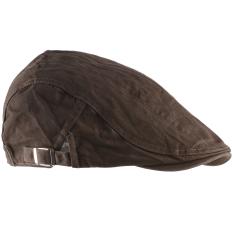Beli Unisex Pria Wanita Beret Buckle Flat Cap Cabbie Mengemudi Newsboy Gatsby Golf Hat Coklat Muda Internasional Yang Bagus