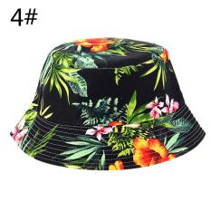 Unisex Pria Wanita Boonie Berburu Memancing Outdoor Cap Floral Bucket Sun Topi Sport 4 #-Intl