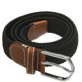 Pusat Jual Beli Unisex Men Women Stretch Braided Elastic Leather Buckle Belt Waistband Black Intl Hong Kong Sar Tiongkok