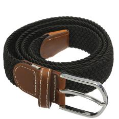 Unisex Men Women Stretch Braided Elastic Leather Buckle Belt Waistband Black Intl Diskon Hong Kong Sar Tiongkok