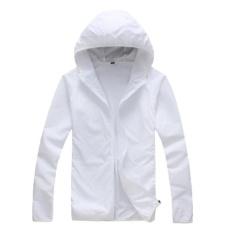 Unisex Outdoor Pakaian Pelindung Sinar Matahari Tabir Surya Kulit Windbreakeruv Tahan Jaket Lengan Panjang Wanita Pria 25-C2 (Putih) -Intl