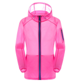Situs Review Unisex Outdoor Uv Bukti Kulit Jaket Bertudung Ringan Water Repellent Hotpink