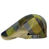 Ulasan Mengenai Unisex Polyester Cotton Plaid Flat Peak Beret Cap Hat Style A Intl