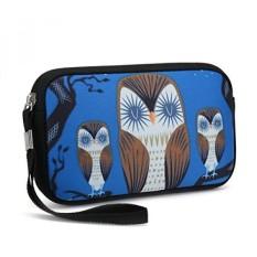 Unisex Portable Washable Travel Semua Smartphone Wristlets Tas Clutch Dompet, Ubah Dompet, Tas Pensil, Tas Kosmetik Pouch Coin Purse Zipper Pemegang Ganti dengan Strap (Cute Tiga Burung Hantu)-Intl