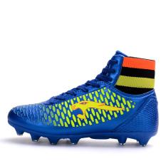 Anak Laki-laki 'S Pria Sepak Bola Profesional Sepatu Tinggi Spike Sepatu Latihan Atletik Sepatu Biru